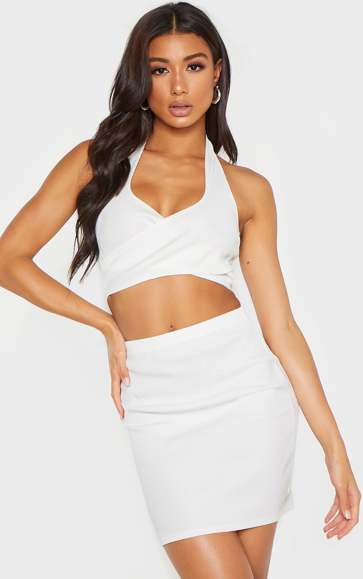 Cream Bandage Rib Halterneck Cross Front Crop Top 1