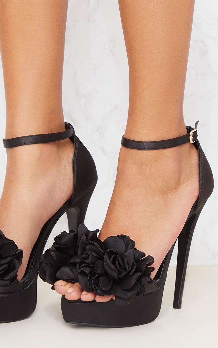 Black Ruffle Flower Platform Heels 5