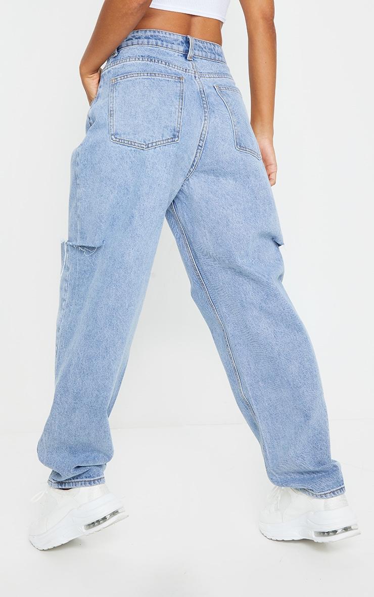 Light Blue Wash Thigh Split Baggy Boyfriend Jeans 3