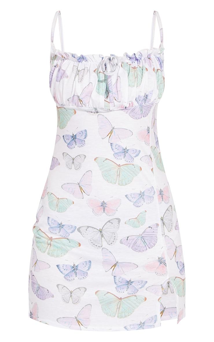Petite White Butterfly Print Tie Bust Strappy Split Front Shift Dress 5