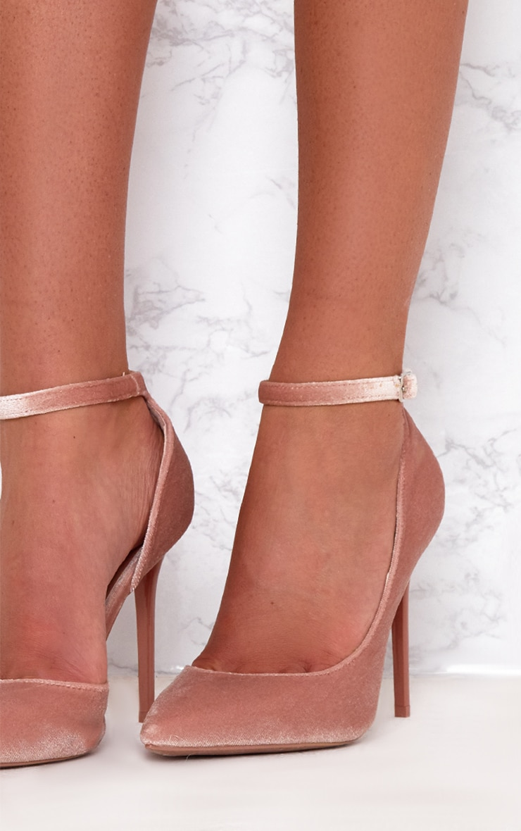 Blush Velvet Ankle Strap Pointy Heels 5