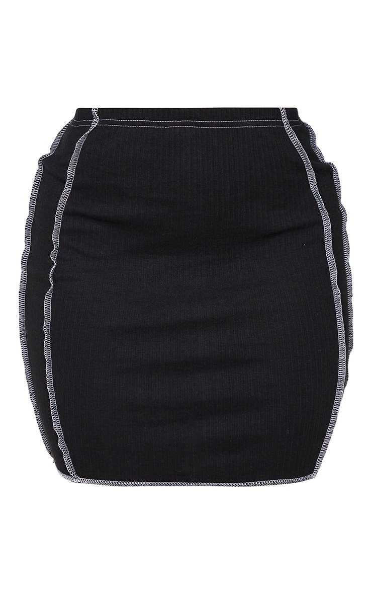 Shape Black Rib Contrast Seam Detail Bodycon Skirt 5