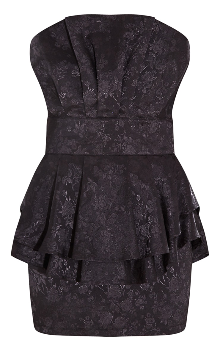 Black Jacquard Bandeau Peplum Bodycon Dress 5
