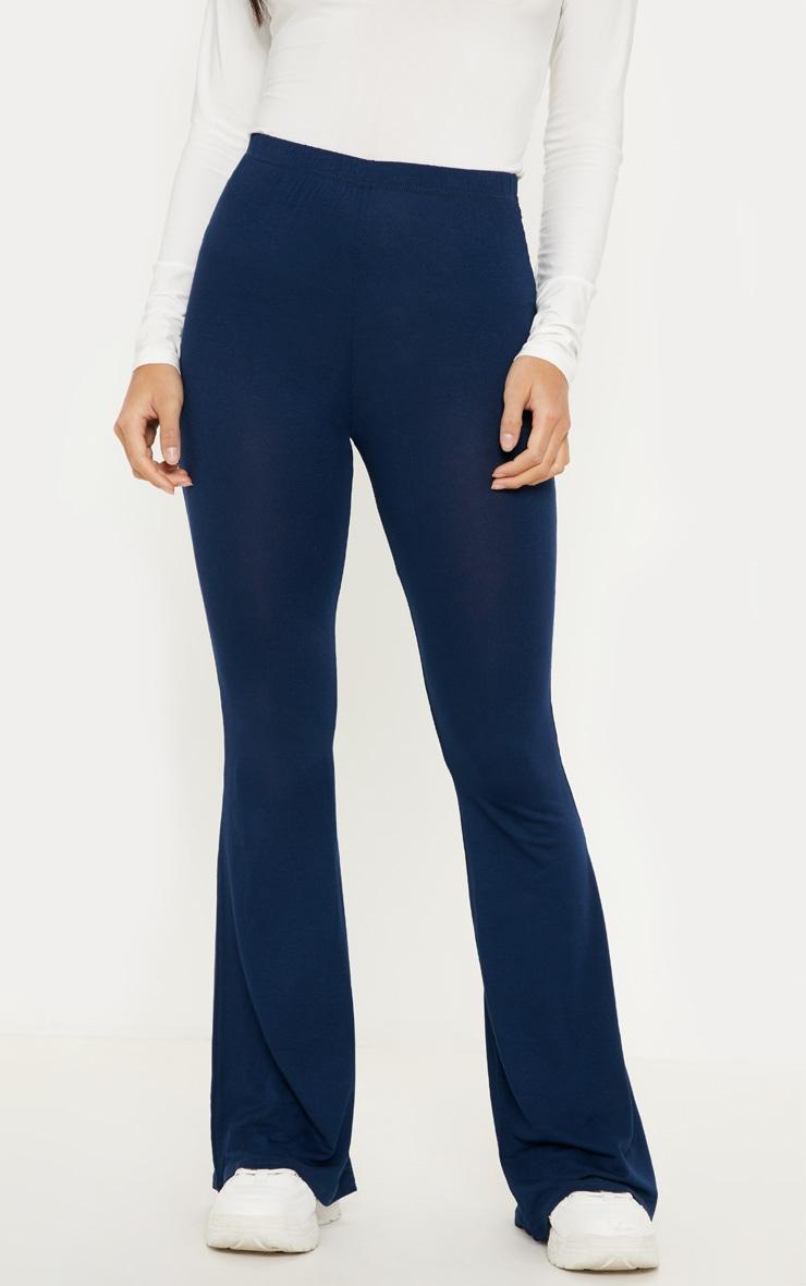 Petite Navy Basic Flare Leg Trousers 2