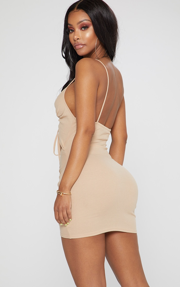 Shape Stone Ribbed Ruched Cut Out Bodycon Dress 2