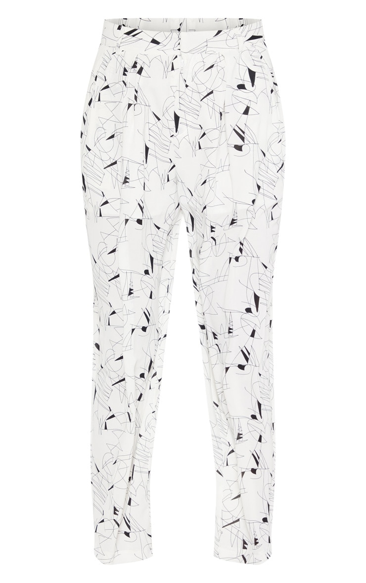 White Printed Woven High Waisted Cigarette Pants 3