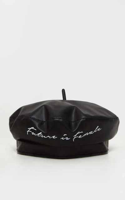 Black Pu The Future is Female Slogan Beret