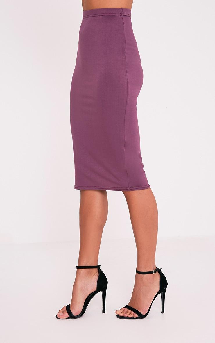 Basic Aubergine Jersey Midi Skirt 4
