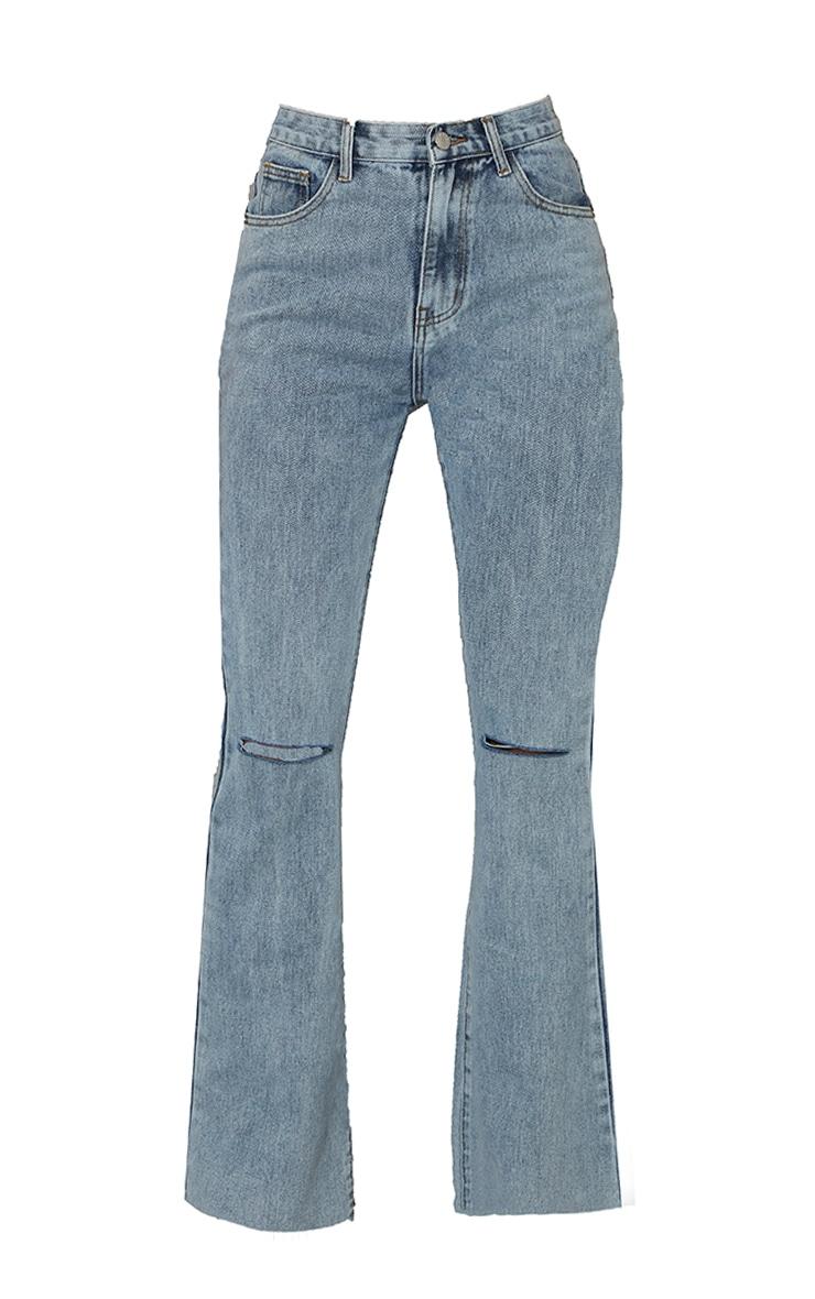 Vintage Wash Raw Hem Knee Ripped Knee Flare Jeans 5