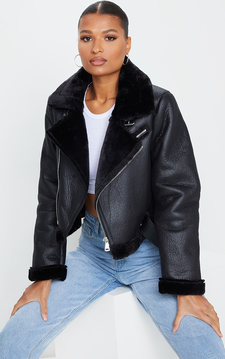 Black PU Cropped Belted Aviator 1