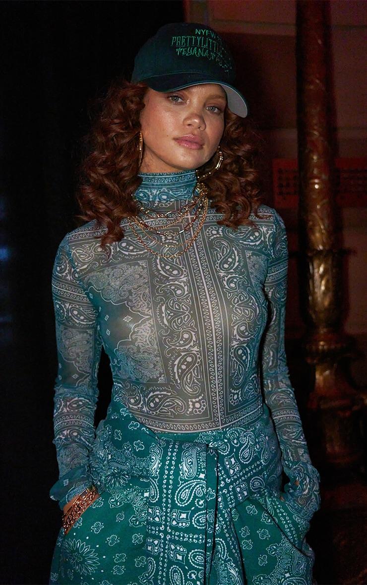 Green Paisley Printed Mesh Bodycon Dress 1