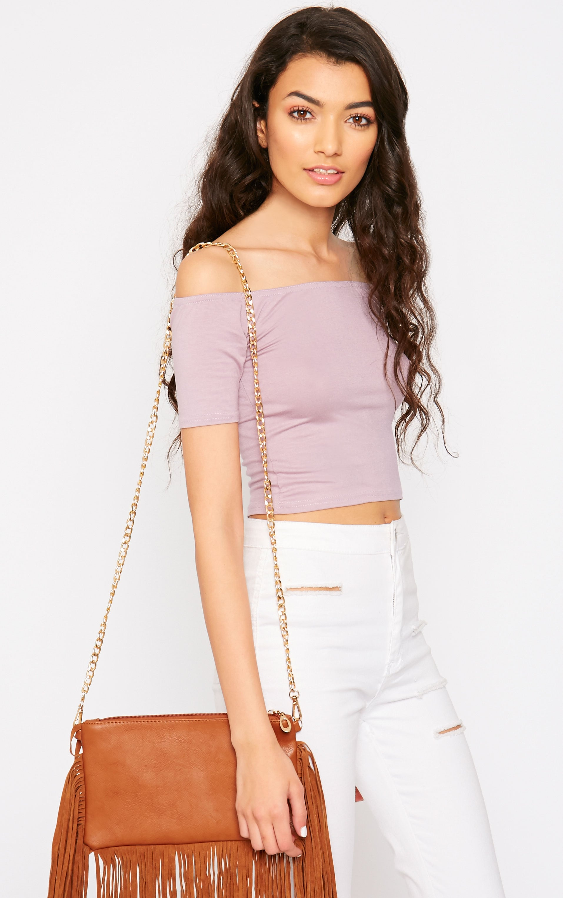Basic Mauve Bardot Crop Top 1