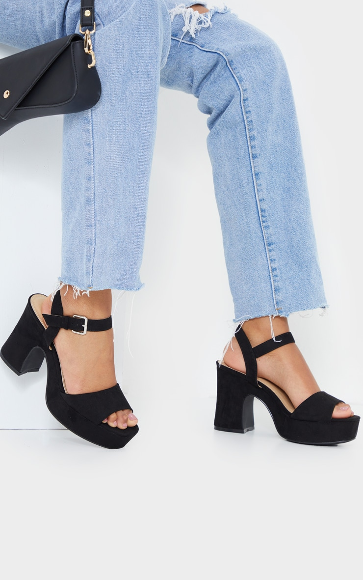 Black Faux Suede Platform Block Heel Sandals 1