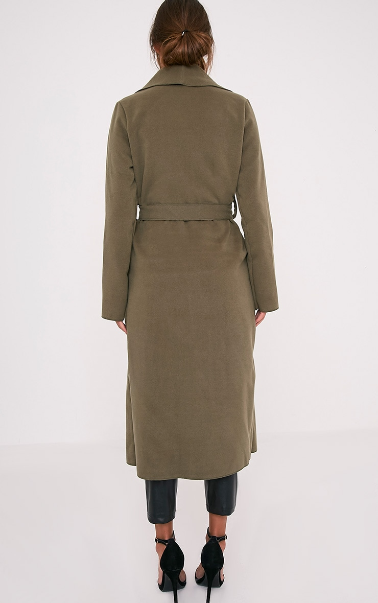 Veronica Khaki Oversized Waterfall Belt Coat 2