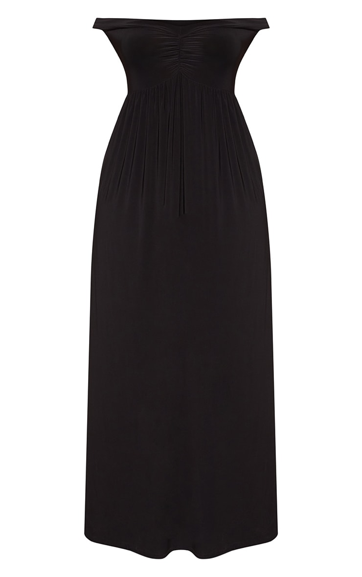 Plus Black Off The Shoulder Slinky Maxi Dress 3