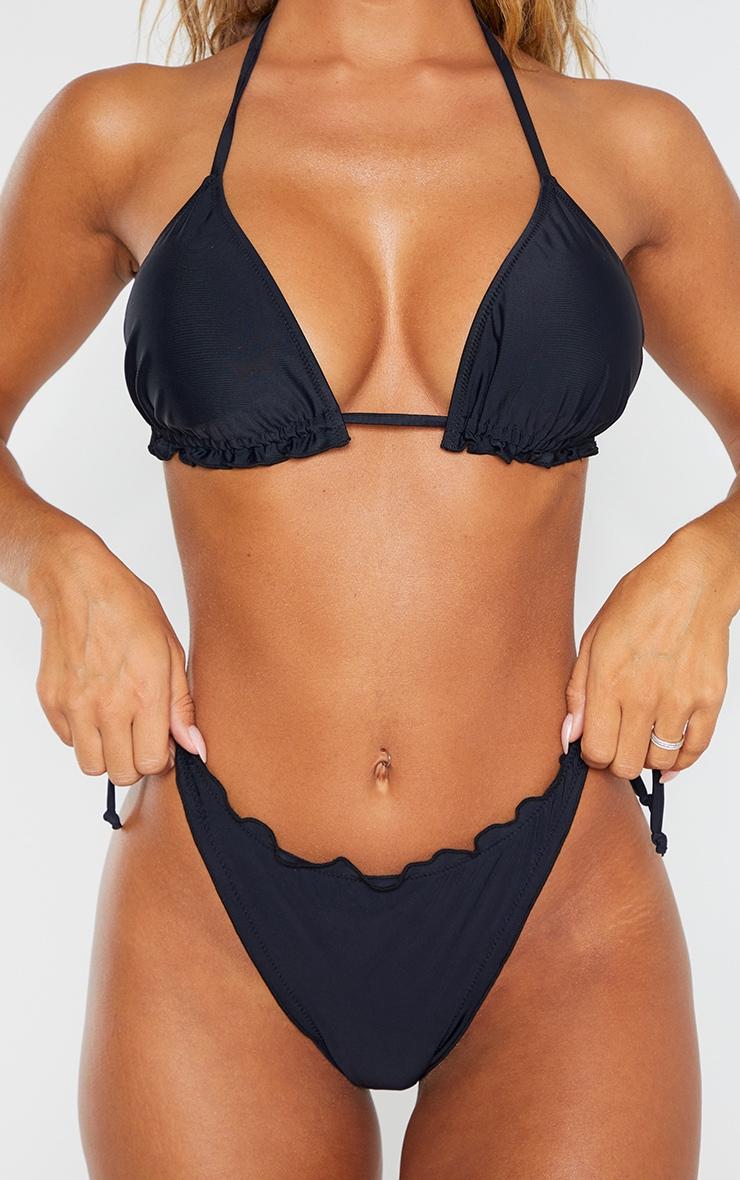 Black Frill Edge Ruched Back Bikini Bottom 4