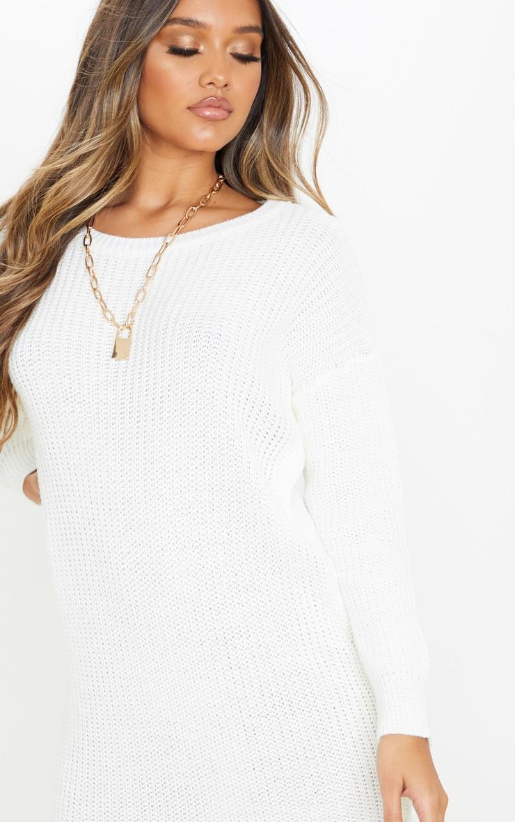 Ivory Basic Knit Sweater Dress 5