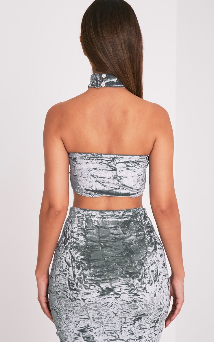 Lacy Silver Crushed Velvet Bandeau & Choker 3