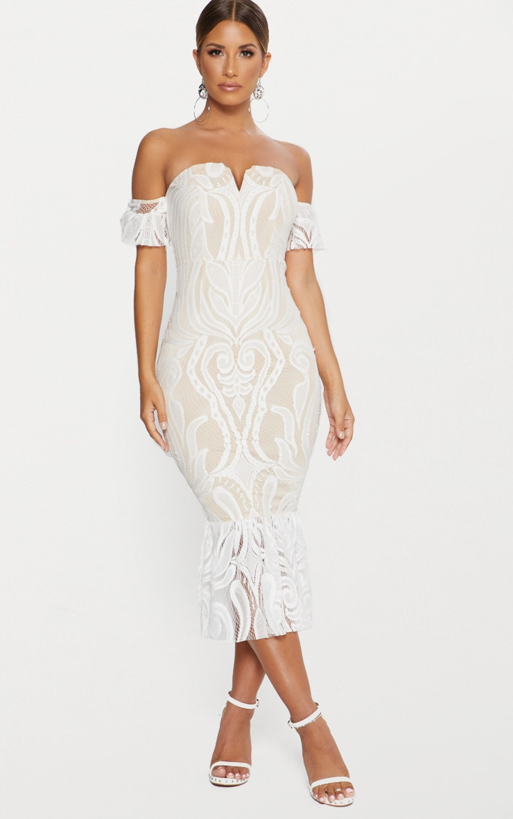 ae34a78e0a5 White Bardot Lace Frill Hem Midi Dress