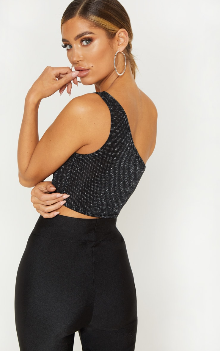 Black Glitter One Shoulder Crop Top 2