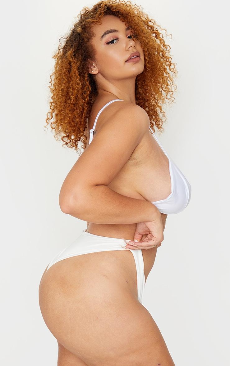 Plus White Mix & Match Super High Leg Brazilian Bikini Bottom 2