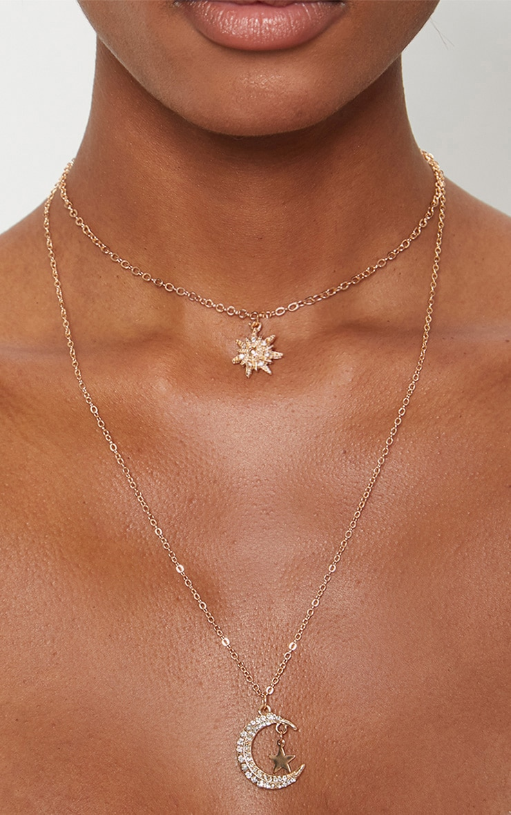 Gold Star Moon Diamante Double Layer Necklace 2