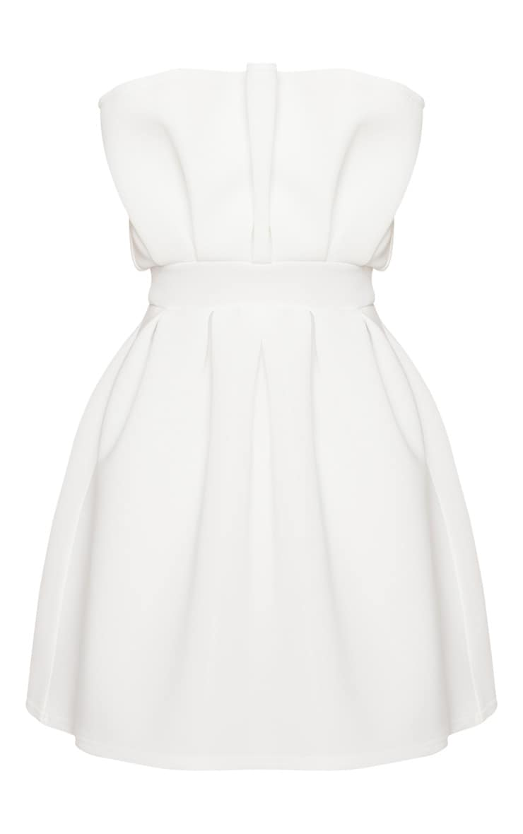 White Bonded Scuba Ruffle Detail Skater Dress 3