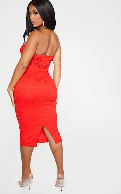 Shape Red Lace Mesh Stripe Bandeau Midi Dress