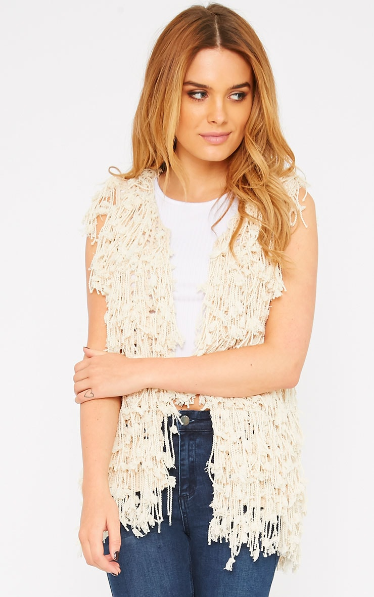 Reyna Cream Shaggy Knit Gilet  1