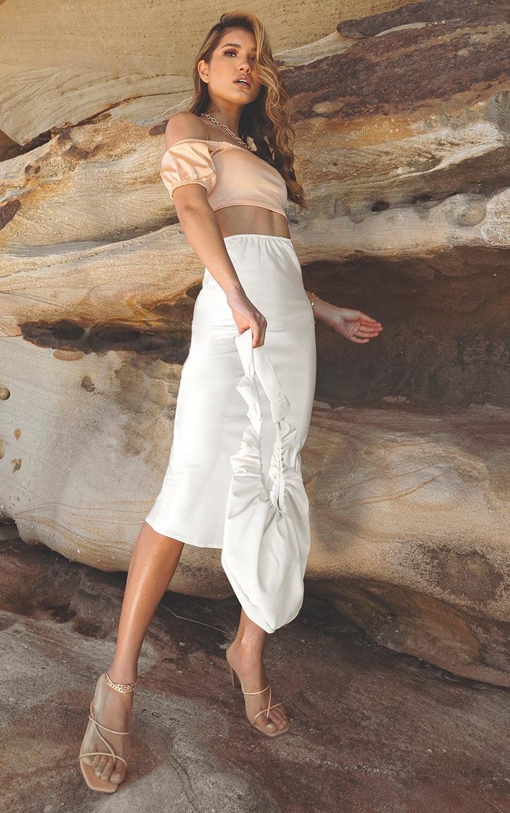 White Satin Midi Skirt 1