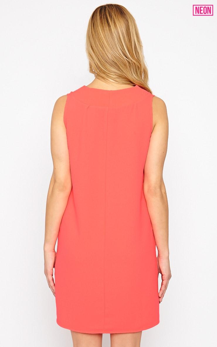 Haelyn Neon Pink Plunge V Shape Loose Fit Binding Dress 2