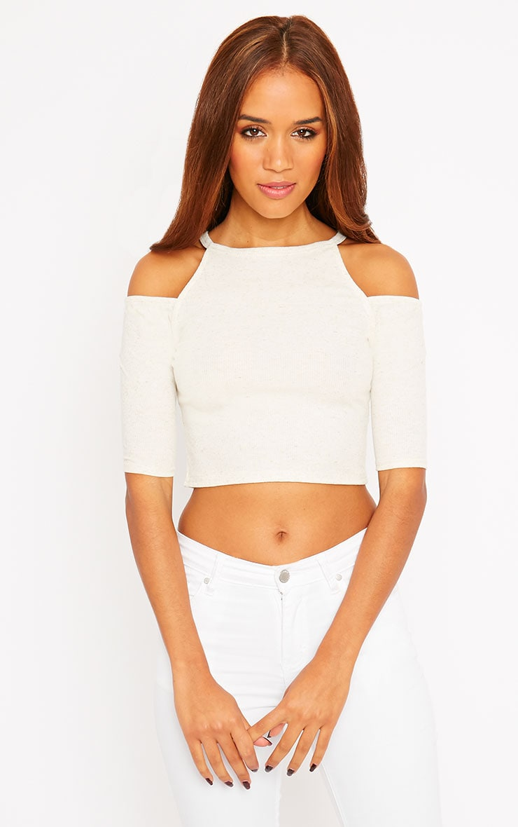 Basic Cream Cut Out Shoulder Crop Top 5
