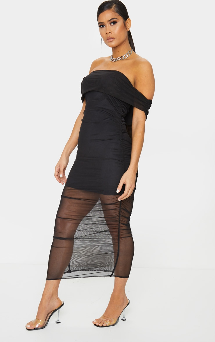 Black Mesh Ruched Bardot Midaxi 3