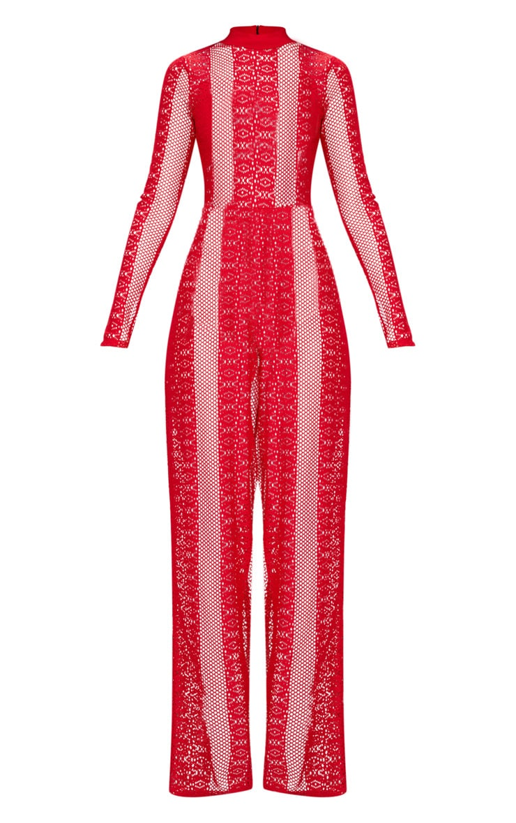 Red Lace High Neck Bra Insert Jumpsuit 3