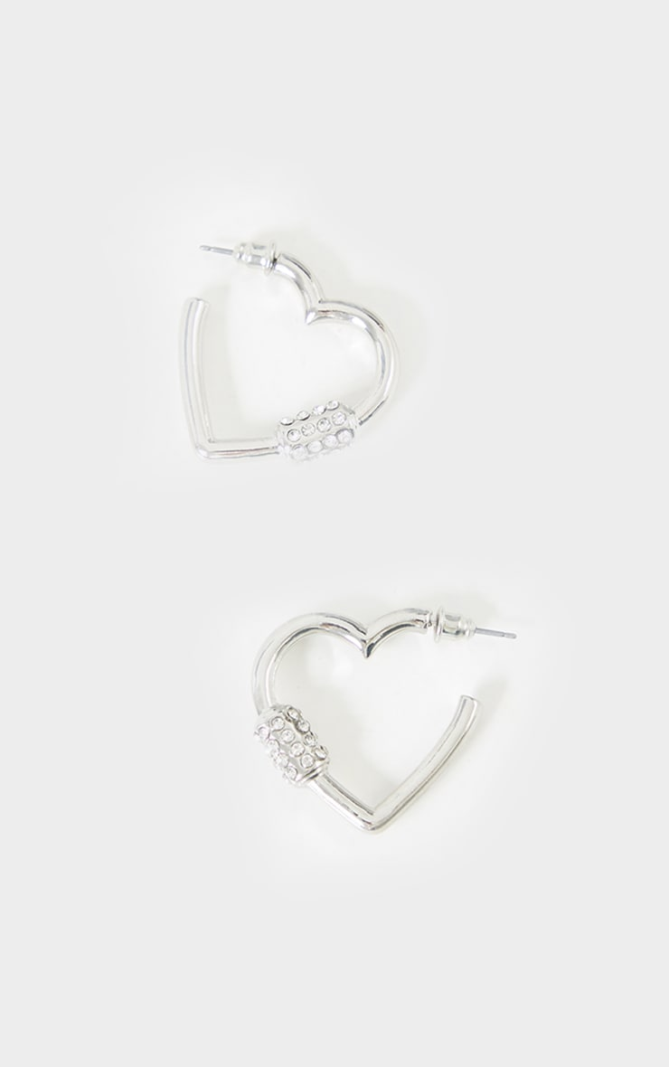 Silver Heart Diamante Clasp Hoop Earrings 2