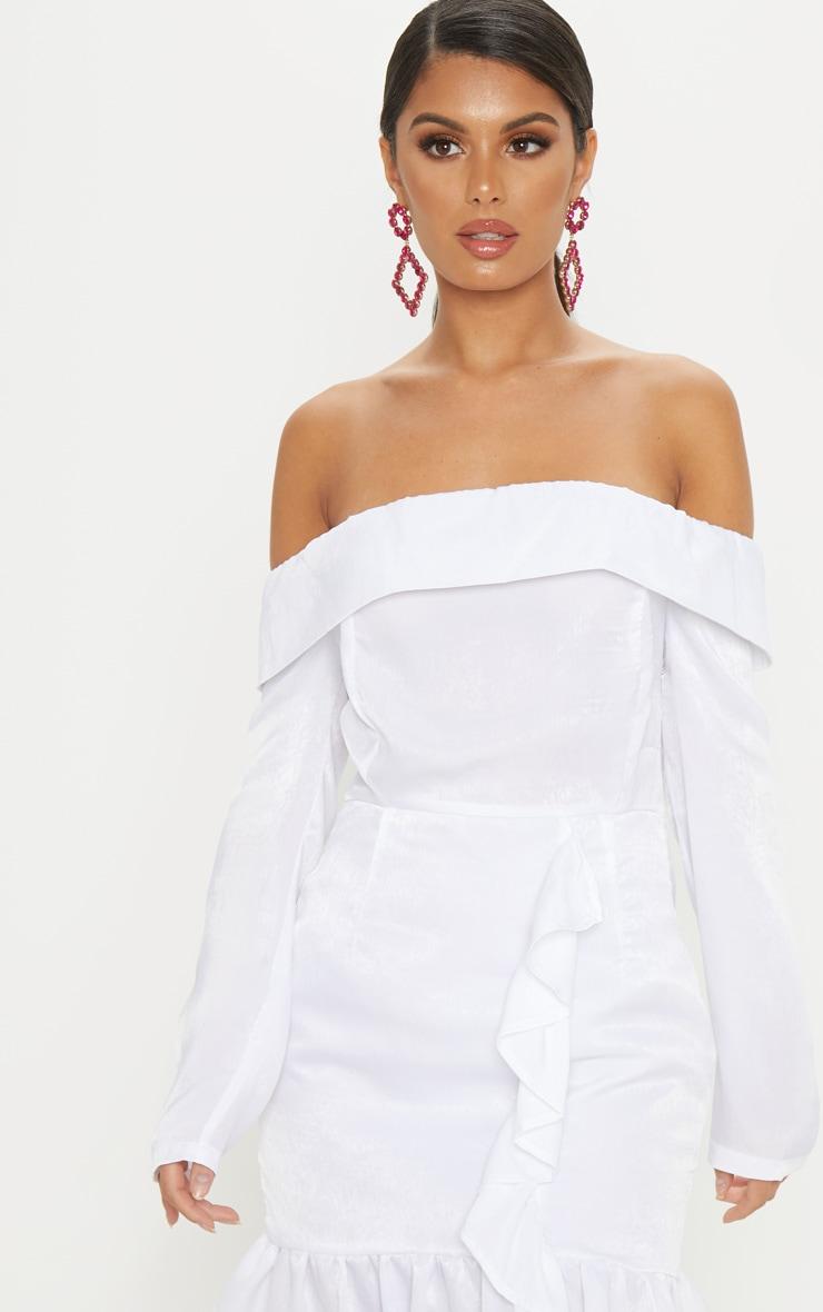 White Satin Bardot Frill Bodycon Dress 5