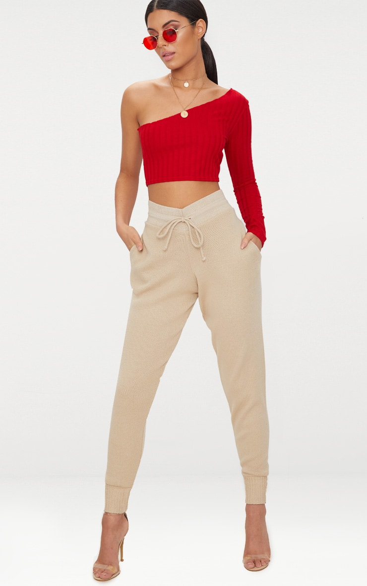 Red Rib Knit Long Sleeve Asymmetric Top 4