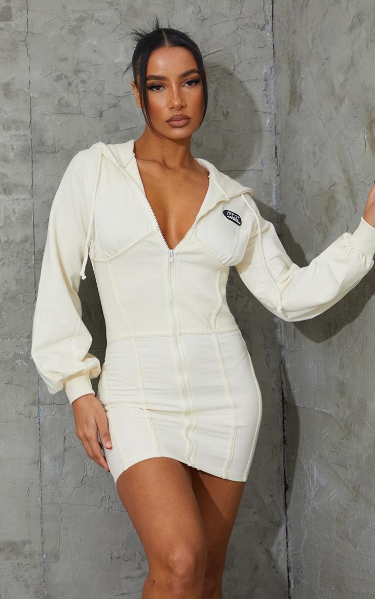 PRETTYLITTLETHING Cream Badge Rib Waist Detail Zip Up Jumper Dress 3