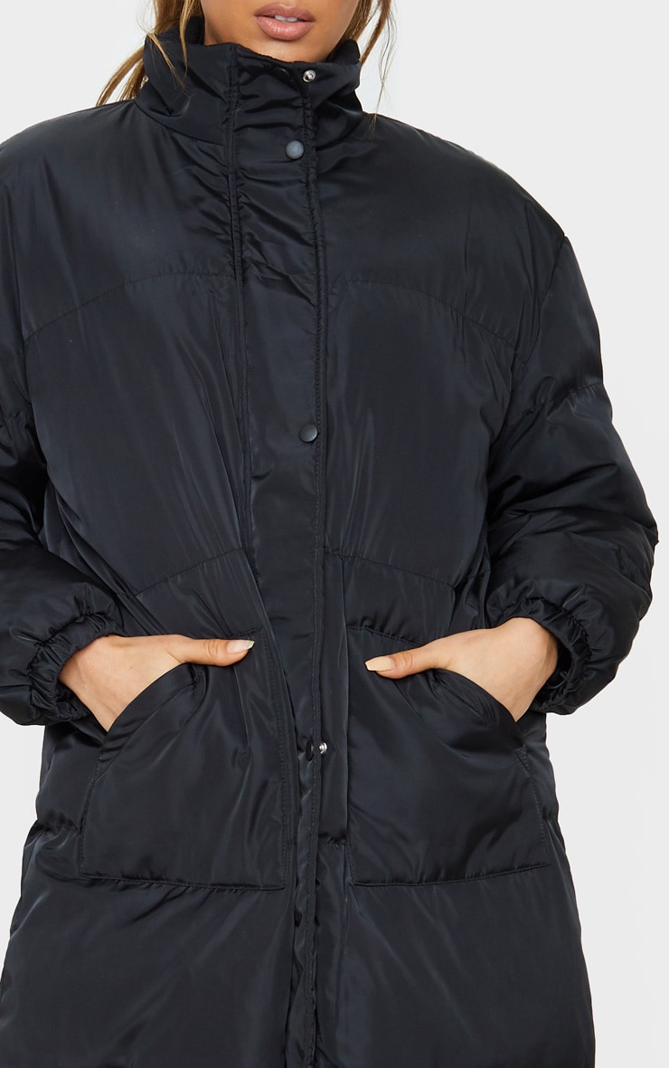 Tall Black Longline Puffer Coat 5