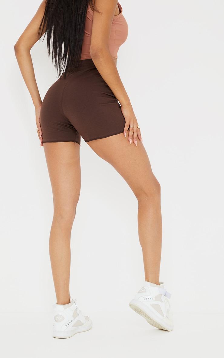 Chocolate Exposed Seam Cotton Hot Pants 3