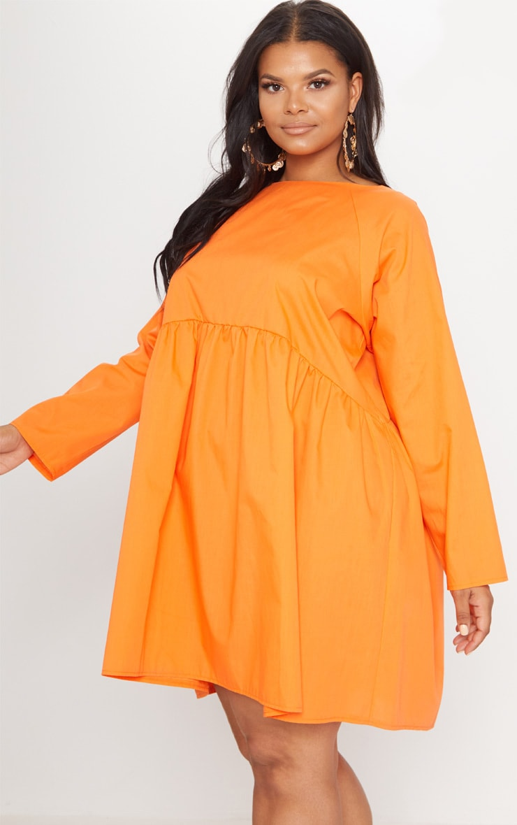 Plus Orange Poplin Smock Dress