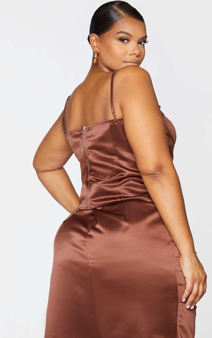 Plus Chocolate Brown Strappy Corset Top 2