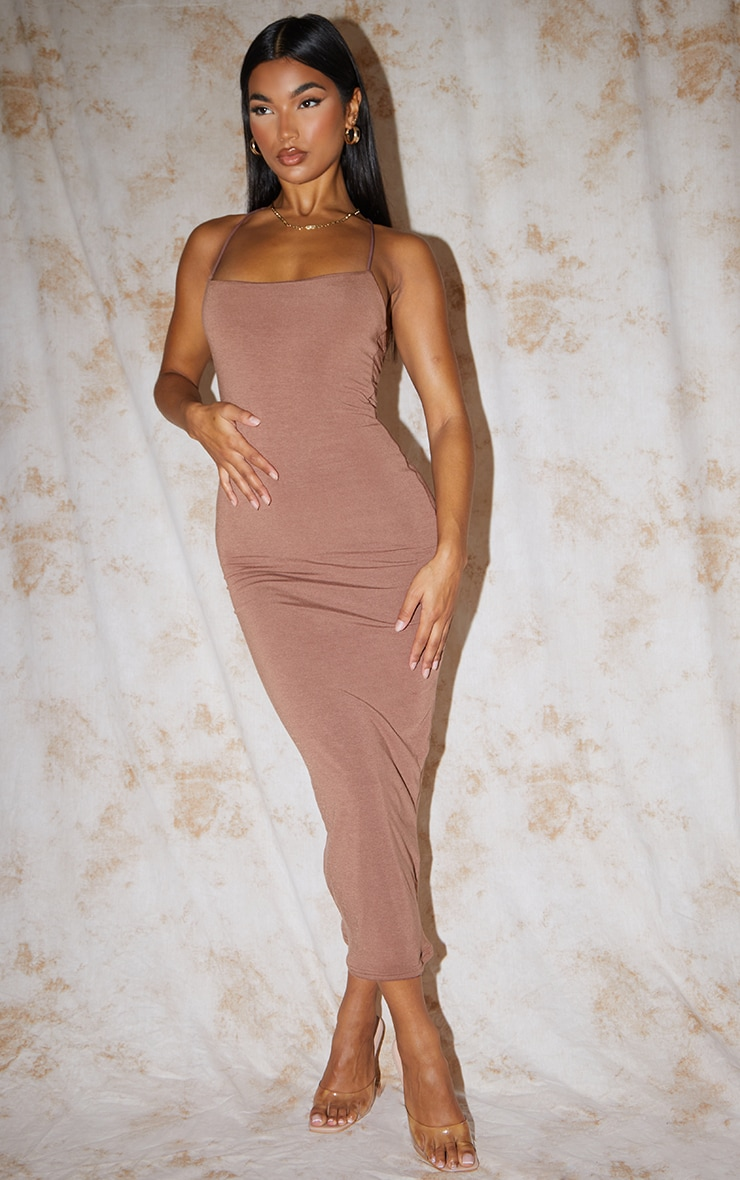 Recycled Chocolate Contour Jersey Strappy Cross Back Midaxi Dress 1