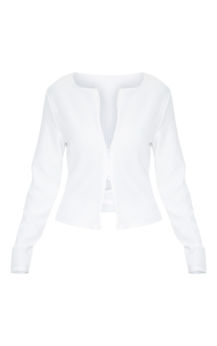 White Jumbo Rib Double Zip Top 1