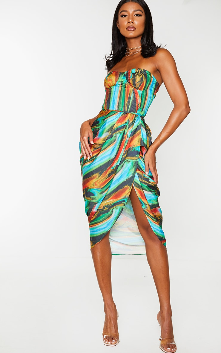 Blue Multi Abstract Print Woven Ruched Side Midi Skirt 1