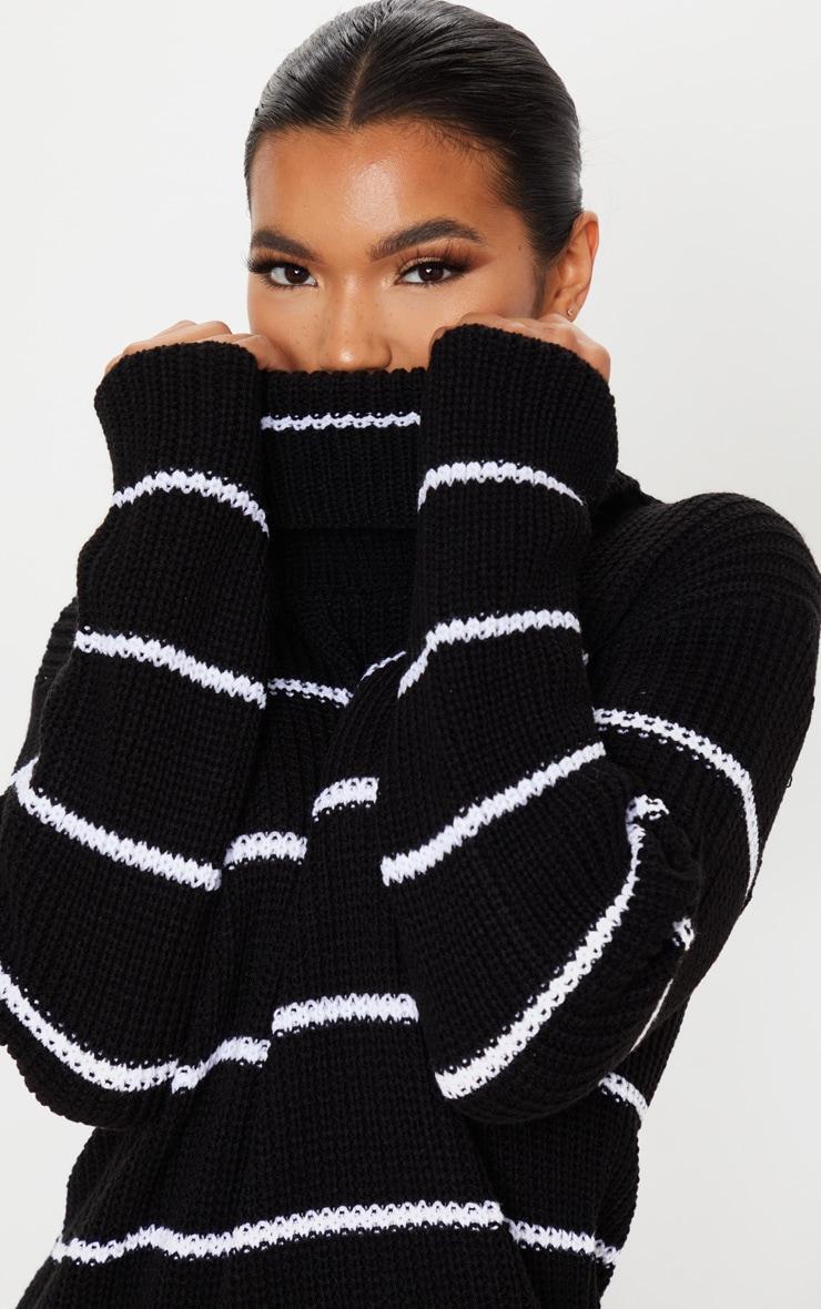 Black Narrow Stripe Knitted Jumper Dress 5