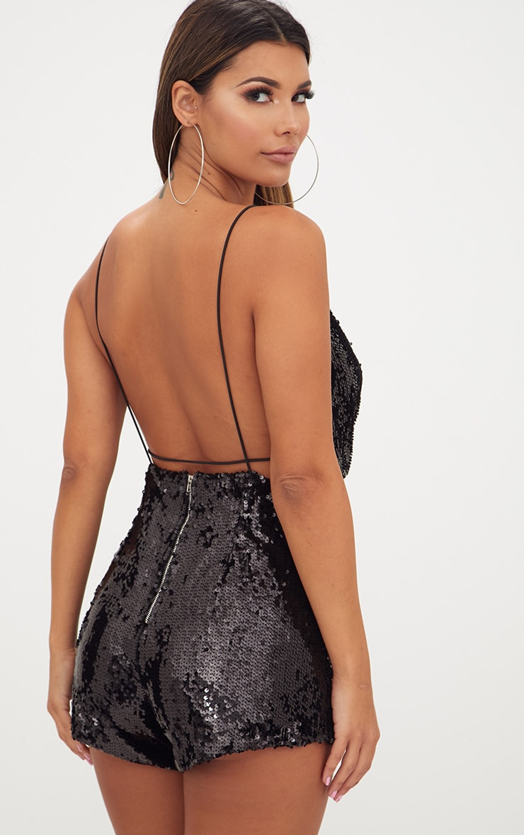 Black Strappy Sequin Wrap Playsuit 2