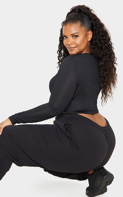 Plus Black Rib Button Front Long Sleeve Crop Top