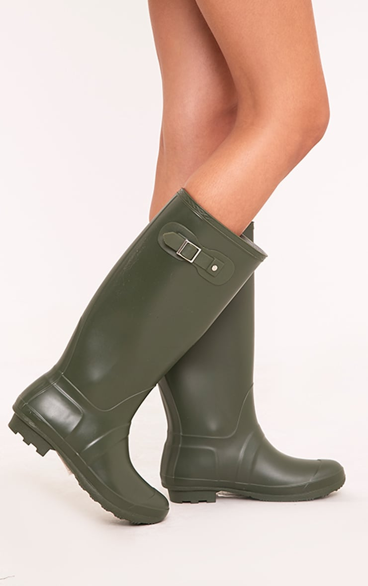 Martina Dark Green Long Rain Boots 1