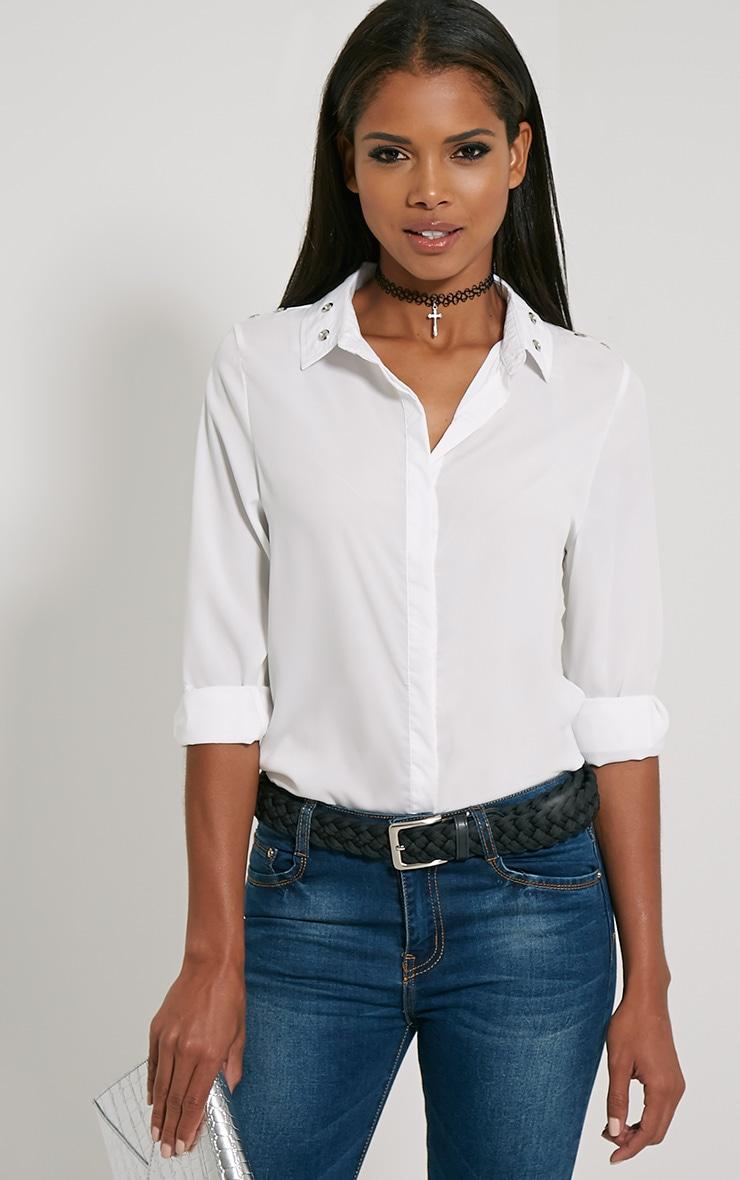 Kiki Cream Eyelet Detail Shirt 1